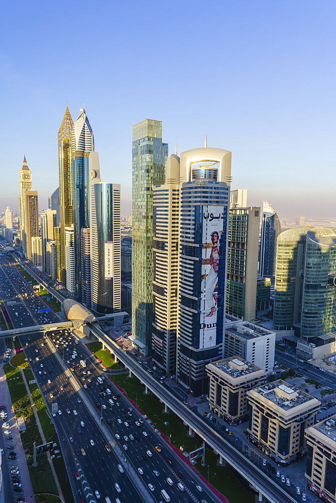 Skyscrapers along Sheikh Zayed Road, Financial Centre, Dubai, United Arab Emirates, Middle East