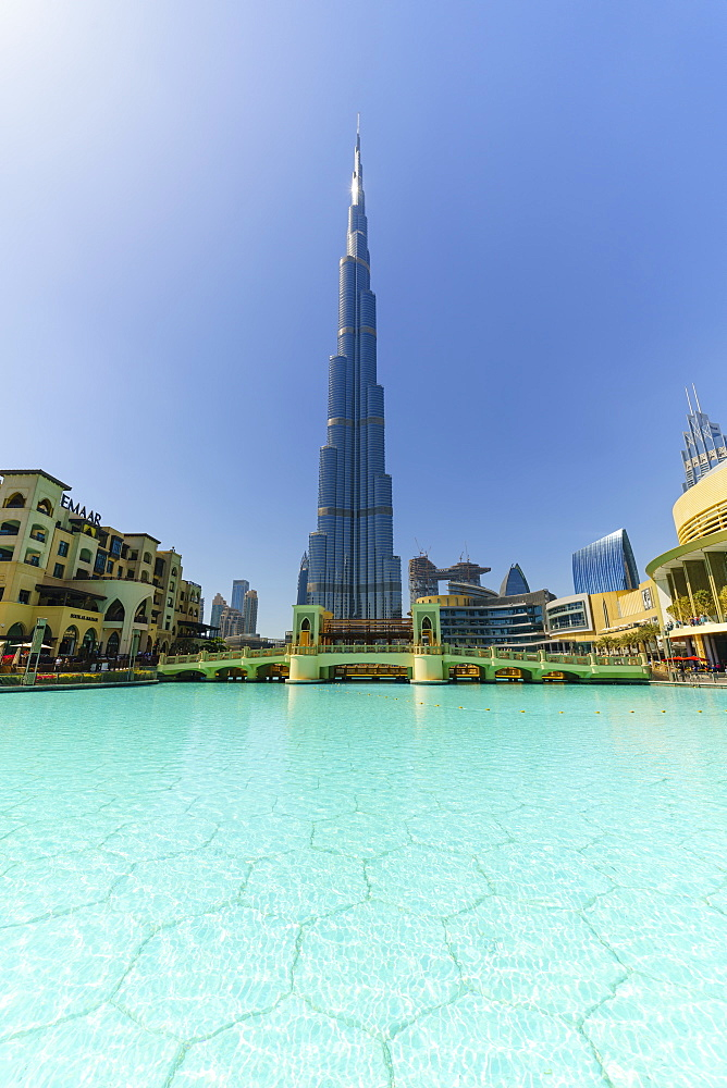 Burj Khalifa and Lake, Downtown, Dubai, United Arab Emirates, Middle East