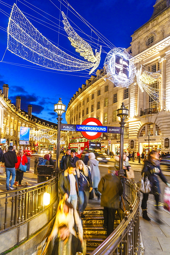 Christmas decorations at Piccadilly Circus, London, England, United Kingdom, Europe - 1226-728