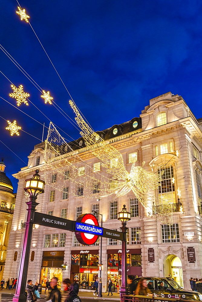 Christmas decorations at Piccadilly Circus, London, England, United Kingdom, Europe - 1226-737