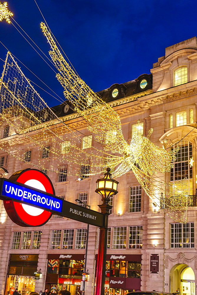 Christmas decorations at Piccadilly Circus, London, England, United Kingdom, Europe