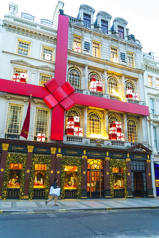 Cartier store decorated for Christmas, New Bond Street, London, England