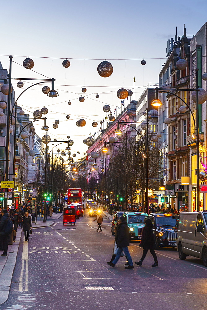 Oxford Street at Christmas, London, England, United Kingdom, Europe