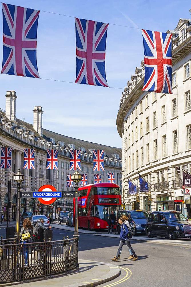 Union flags flying in Regent Street, London, W1, England, United Kingdom, Europe