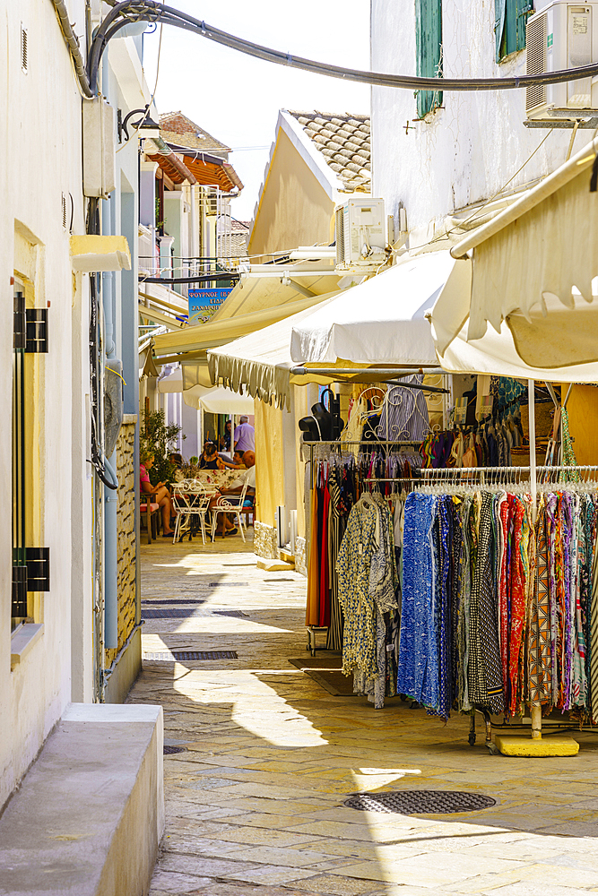 Narrow street in Gaios, Paxos, Ionian Islands, Greek Islands, Greece, Europe