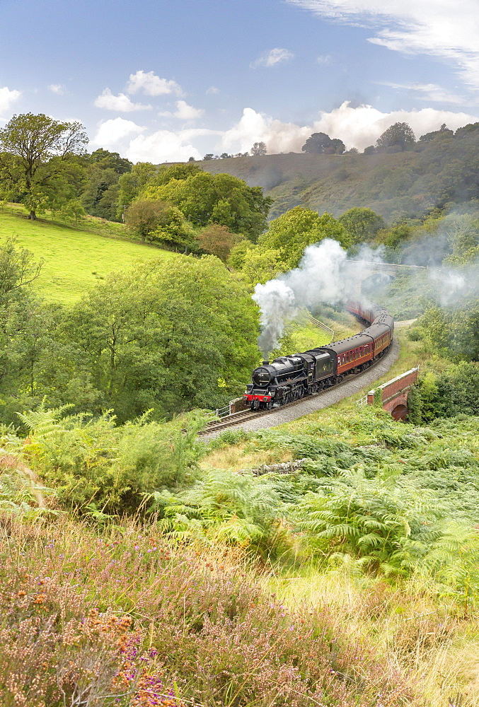 A steam locomotive approaching Goathland from Grosmont in September 2016, North Yorkshire, Yorkshire, England, United Kingdom, Europe