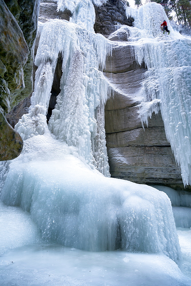 Ice climbing in Maligne Canyon Alberta, Canada, North America