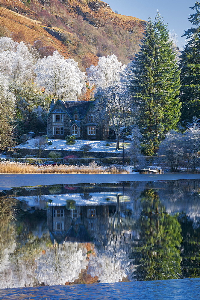 Partially frozen Loch Ard and a hoar frost around Aberfoyle, The Trossachs, Scotland, United Kingdom, Europe - 1228-166