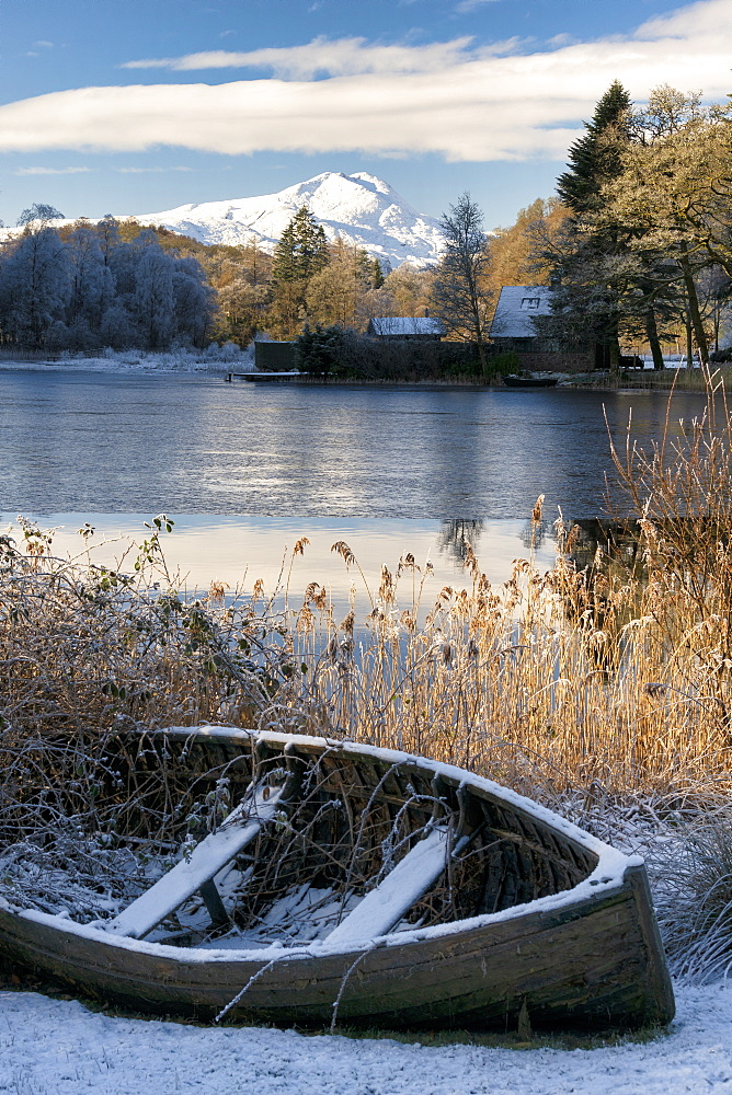 Loch Ard, Aberfoyle, and Ben Lomond in mid-winter, Loch Lomond and the Trossachs National Park, Scotland, United Kingdom, Europe