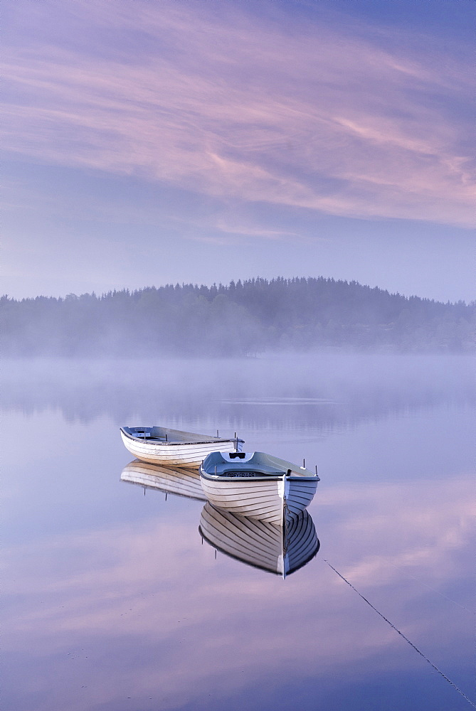 Misty daybreak over Loch Rusky in May, Aberfoyle, The Trossachs, Scotland, United Kingdom, Europe