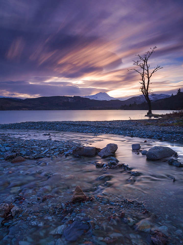 Sun setting over Ben Lomond and Loch Ard near Aberfoyle in the Lomond Trossachs National Park, Stirling, Scotland, United Kingdom, Europe - 1228-65