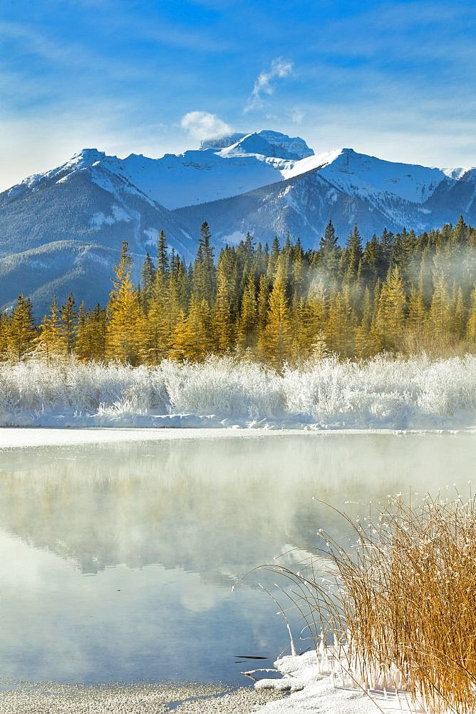 A hoar frost and minus 26 degrees over the Vermillion Lakes, Banff National Park, Alberta, Canada.