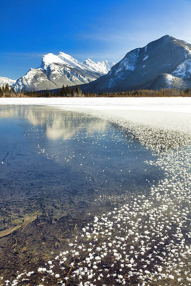 Mount Rundle and ice crystals forming over Vermillion Lakes with temperature of minus 26 degrees