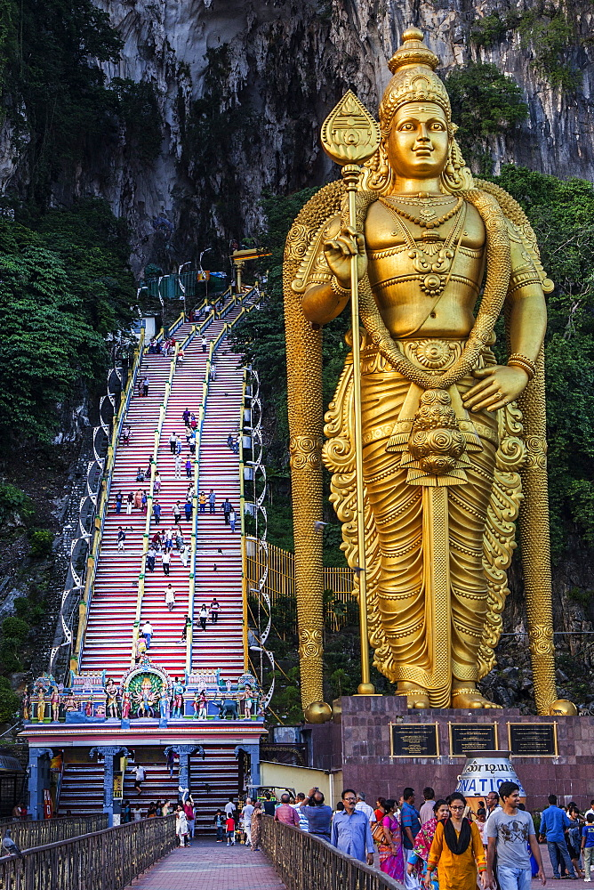 The giant statue to the Hindu Lord Murugan at the entrance to the Batu Caves, Gomback, Selangor, Malaysia, Southeast Asia, Asia - 1231-1