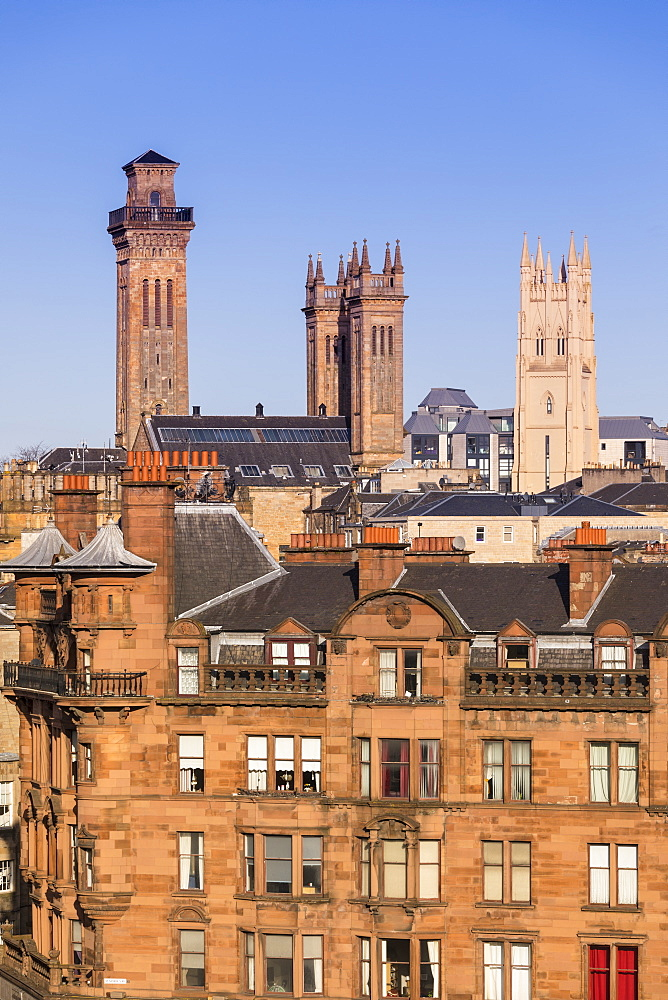 City skyline view of the towers of Trinity College and Park Church in the West End of Glasgow, Scotland, United Kingdom, Europe - 1237-114
