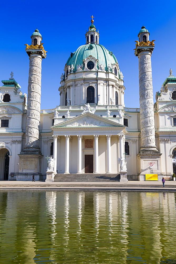 Karlskirche (St. Charles Church), baroque architecture, Karlsplatz, Vienna, Austria, Europe - 1237-129