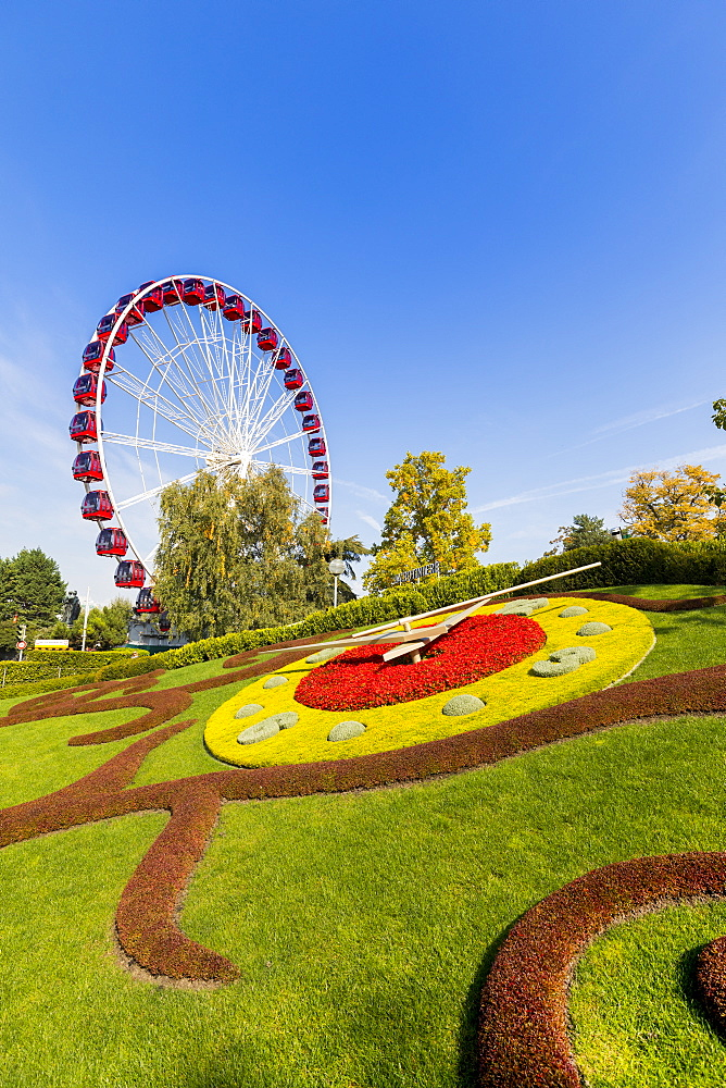 Ferris Wheel and L'horloge fleurie, the flower clock, Jardin Anglais park, Geneva, Switzerland, Europe - 1237-153