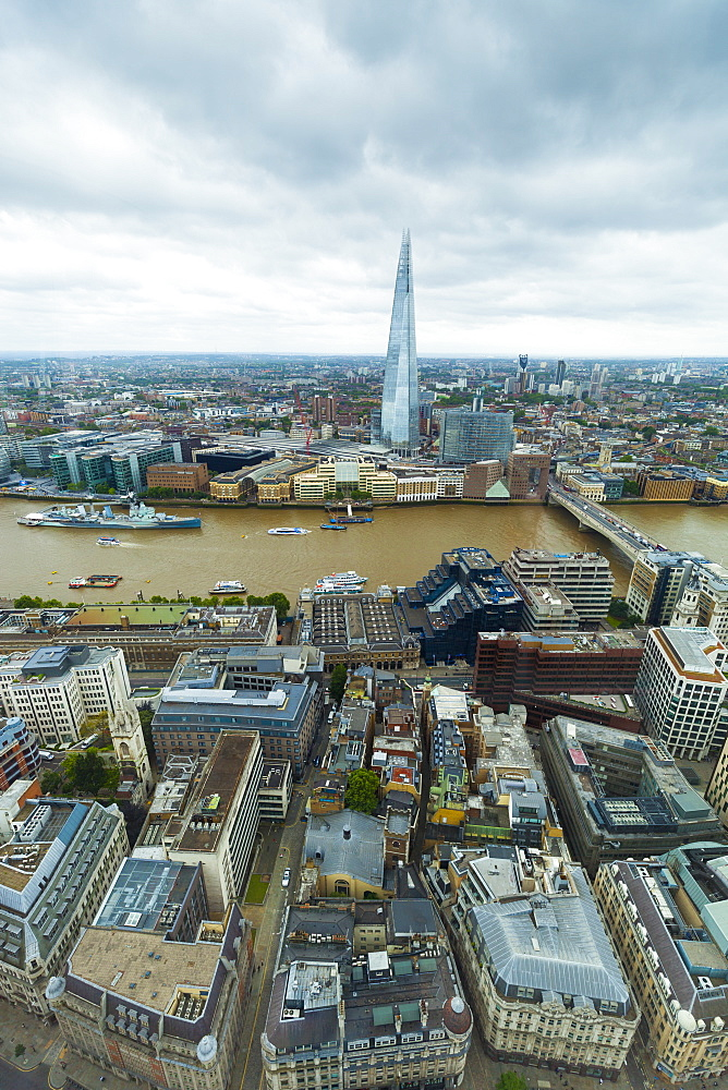 View of the River Thames and The Shard from the Sky Garden at the Walkie Talkie (20 Fenchurch Street), City of London, London, England, United Kingdom, Europe - 1237-167