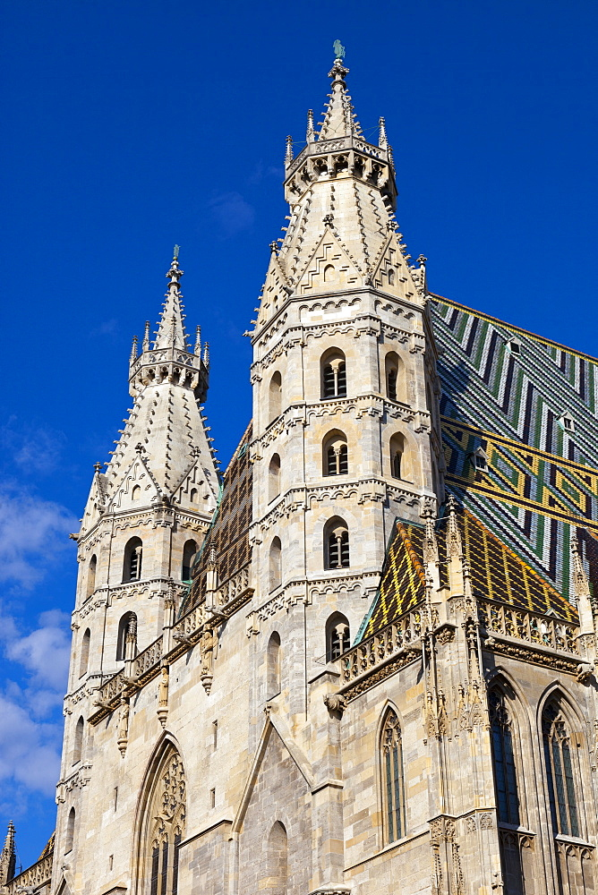 Romanesque Towers of St. Stephen's Cathedral, Stephansplatz, Vienna, Austria, Europe.