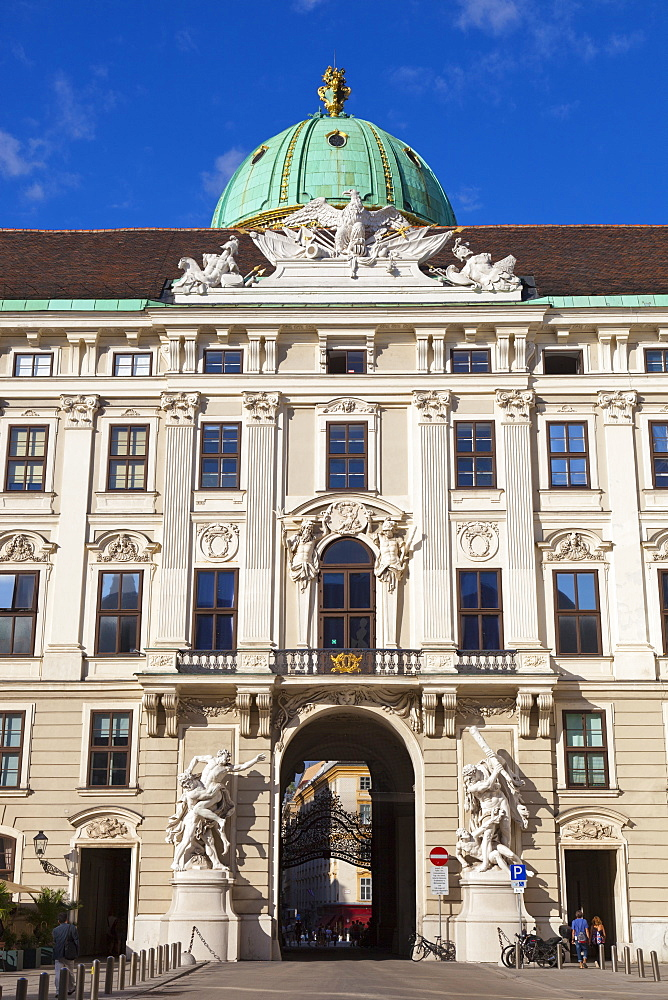 Facade of Michaelertor Gate, Hofburg Palace, Vienna, Austria, Europe.