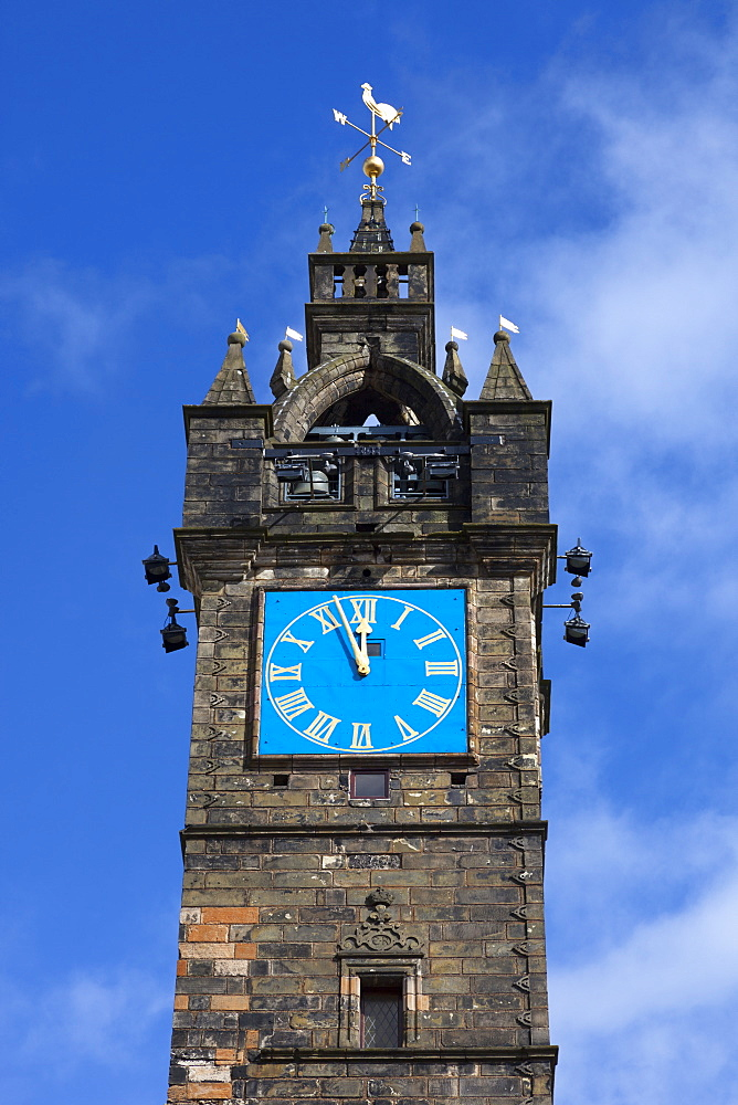 Close up of The Tolbooth Steeple, (Clock Tower), Glasgow Cross, Trongate, Merchant City, Glasgow, Scotland, United Kingdom, Europe