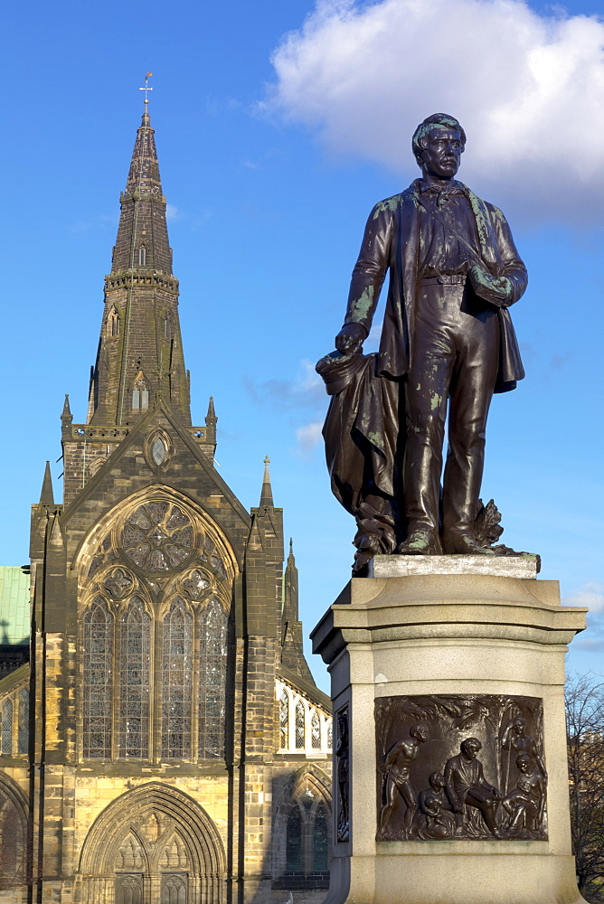 Statue of David Livingstone and Glasgow Cathedral, Glasgow, Scotland, United Kingdom, Europe