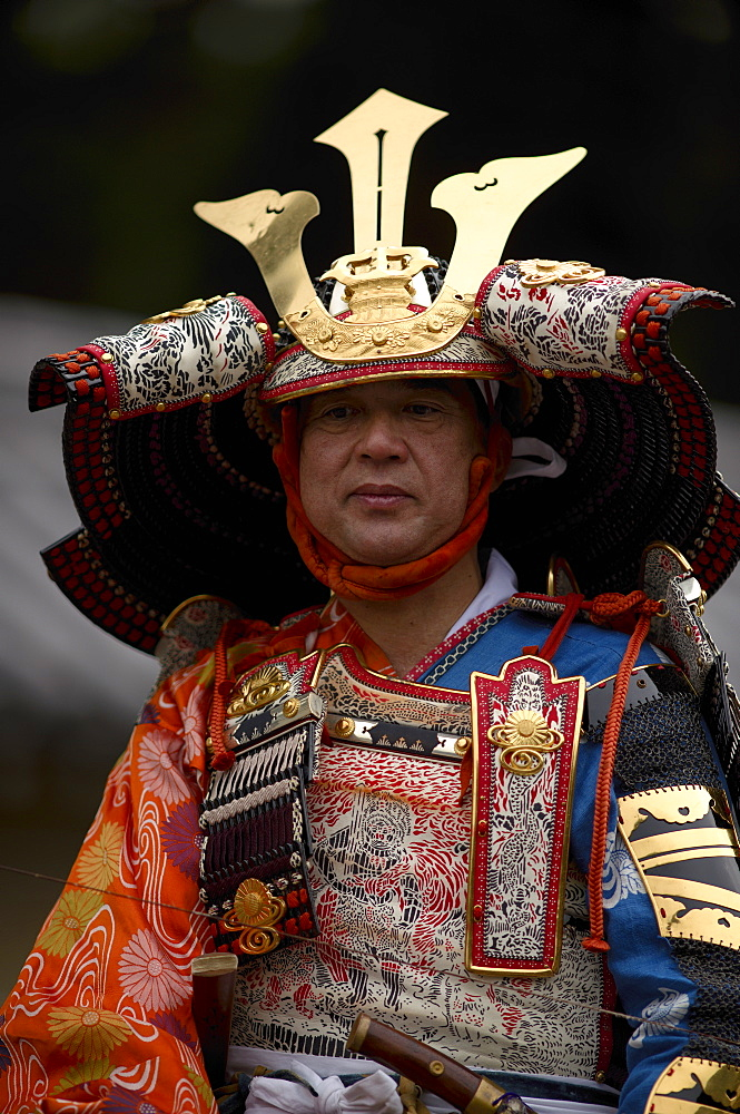 Warrior in full gear during the Jidai Festival, Kyoto, Japan, Asia - 1238-11