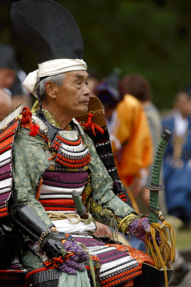 Warrior in full gear during the Jidai Festival, Kyoto, Japan, Asia