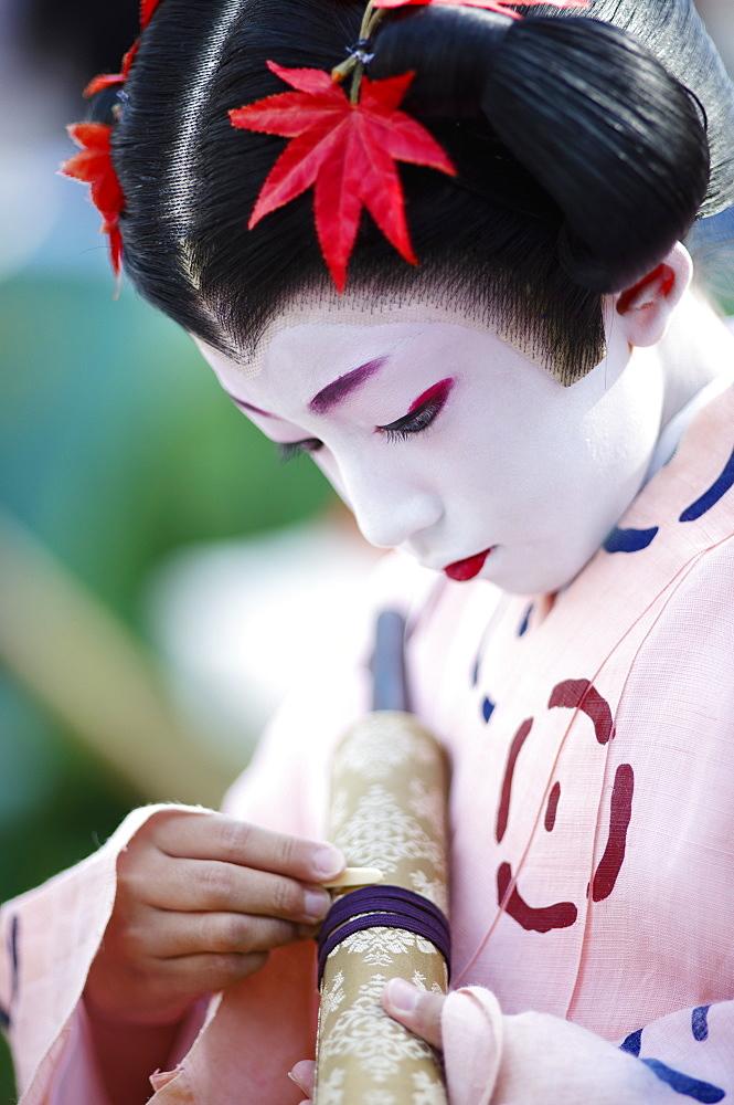 Twelfth century Tokiwa Gozen's child, Jidai festival, Kyoto, Japan, Asia - 1238-143