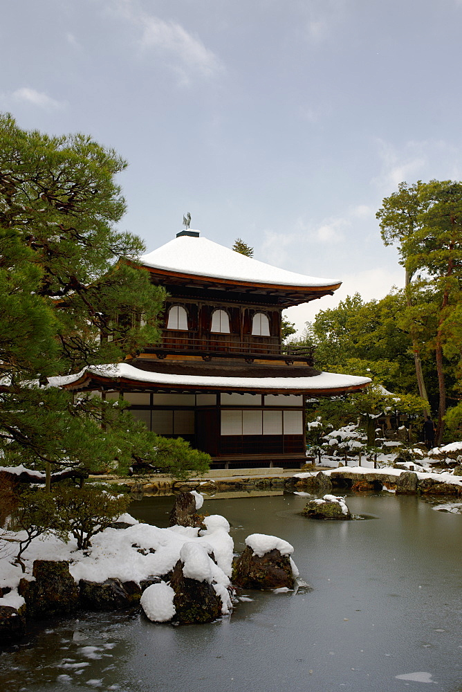 Snow-covered Silver Pavilion, Ginkaku-ji Temple, Kyoto, Japan, Asia - 1238-25