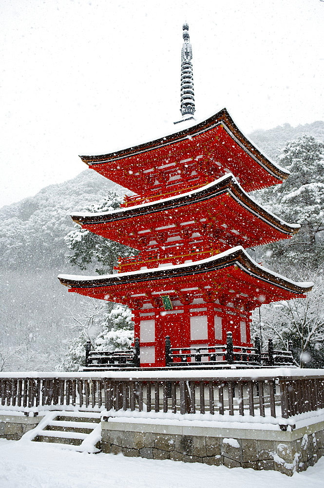 Snow falling on small red pagoda, Kiyomizu-dera Temple, UNESCO World Heritage Site, Kyoto, Japan, Asia - 1238-29
