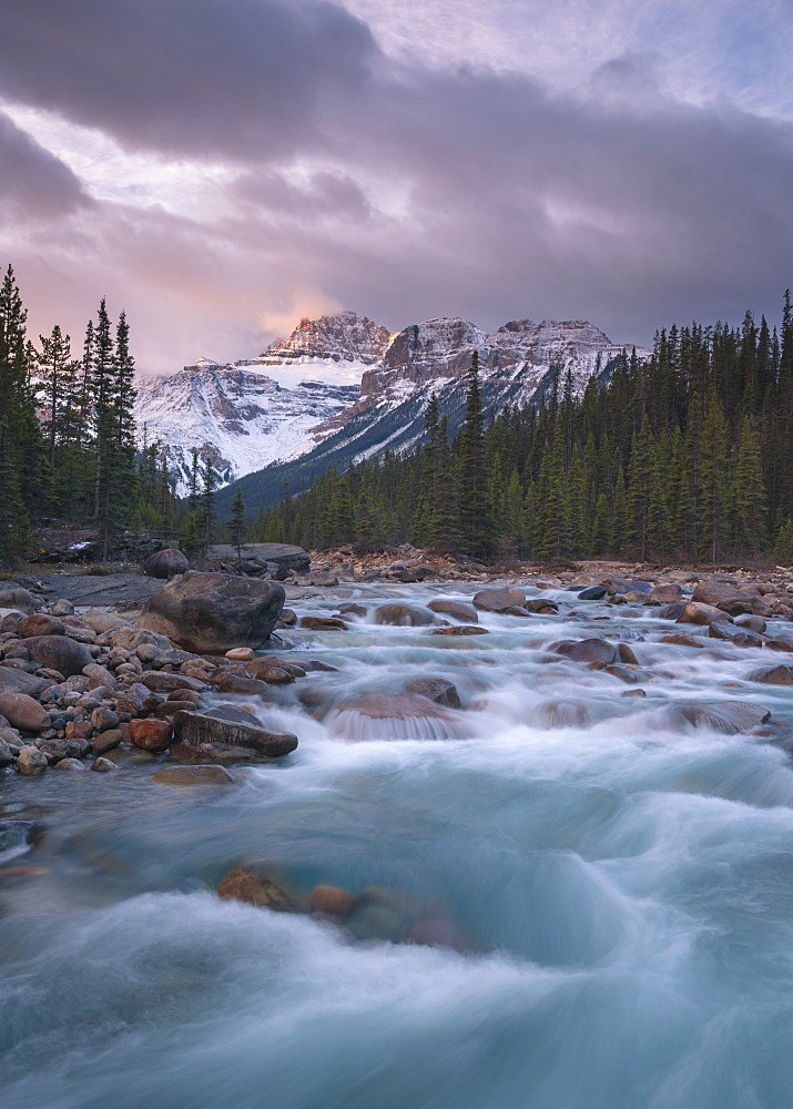 Sunrise and glacial blue rushing waters at Mistaya Canyon, Banff National Park, UNESCO World Heritage Site, Alberta, The Rockies, Canada, North America - 1241-104
