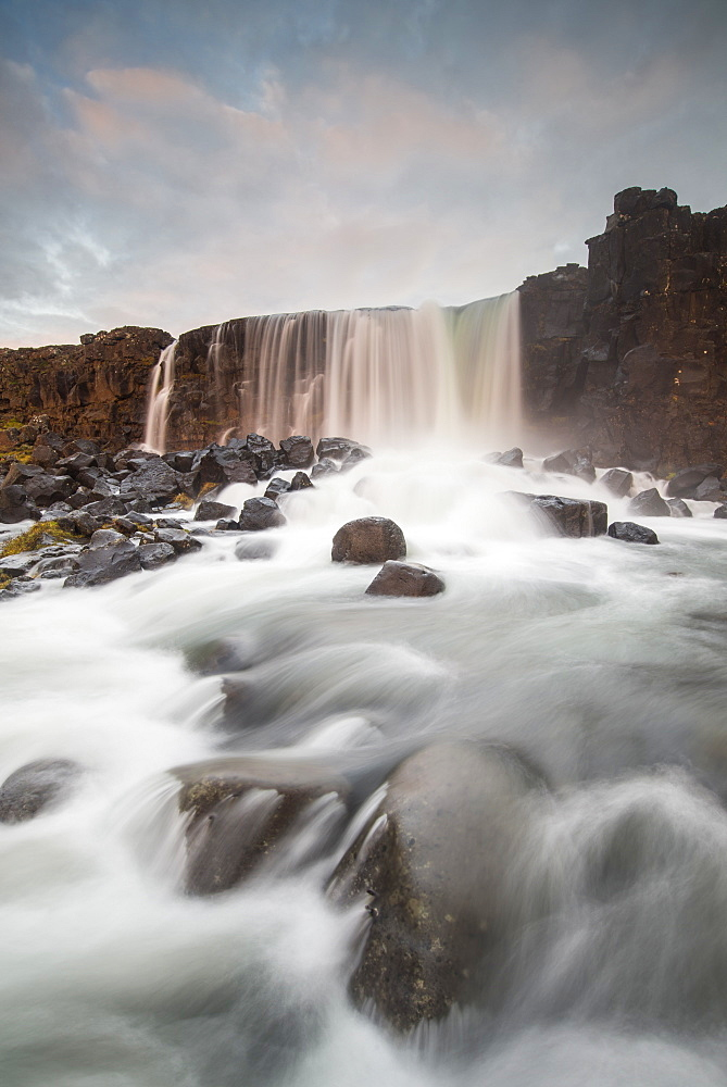 Oxarafoss waterfall at sunrise in Thingvellir National Park, UNESCO World Heritage Site, Iceland, Polar Regions - 1241-4