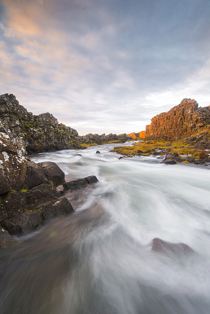 Oxararfoss River at sunrise, Thingvellir National Park, UNESCO World Heritage Site, Iceland, Polar Regions - 1241-50