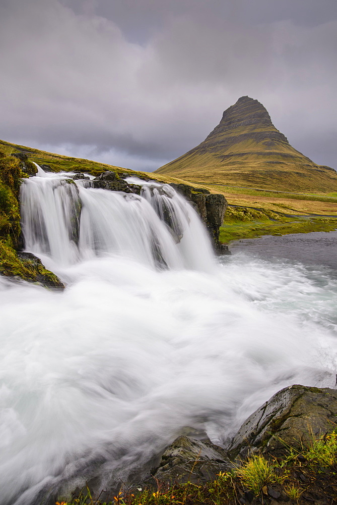 Rushing glacial run-off feeds Kirkjufellfoss on the Snaefellsness Peninsula, Iceland, Polar Regions - 1241-7