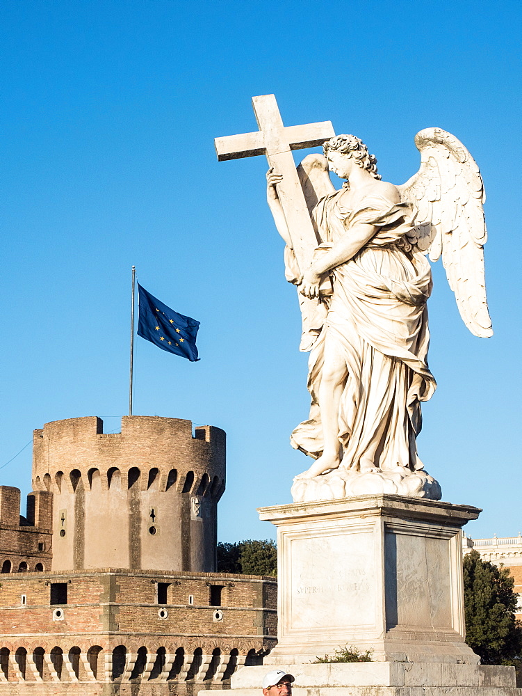 Statue outside the Castel Sant'Angelo, UNESCO World Heritage Site, Rome, Lazio, Italy, Europe - 1242-140