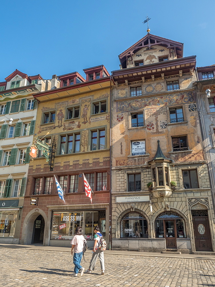 Traditional painted buildings in city center, Lucerne, Switzerland, Europe - 1242-181