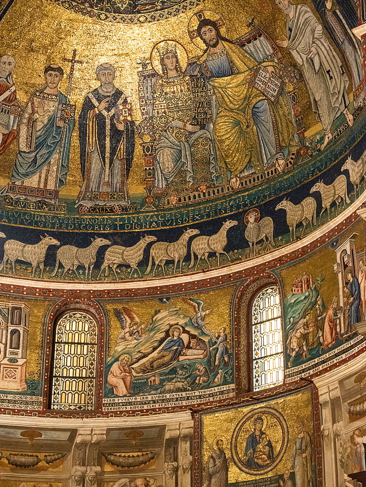 12th-century mosaics in the Church of Santa Maria in Trastevere, Rome, Italy - 1242-242
