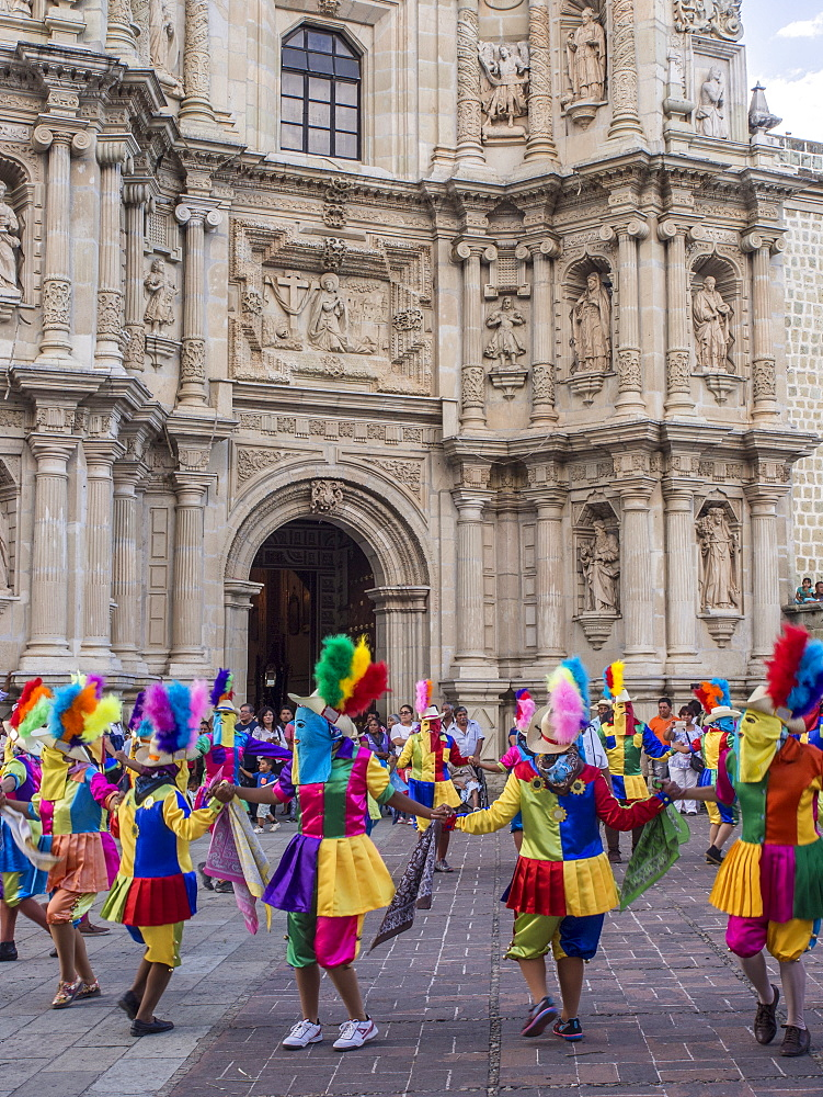 Masked dancers, Fiesta de la Virgen de la Soledad, Basilica of Our Lady of Solitude, Oaxaca, Mexico, North America