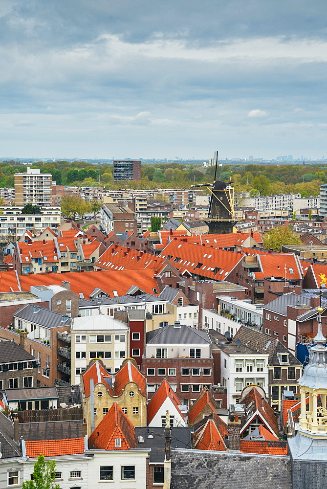 Schiedam has the largest windmills in the world, with heights up to 33 meters, Schiedam, Netherlands, Europe - 1243-103