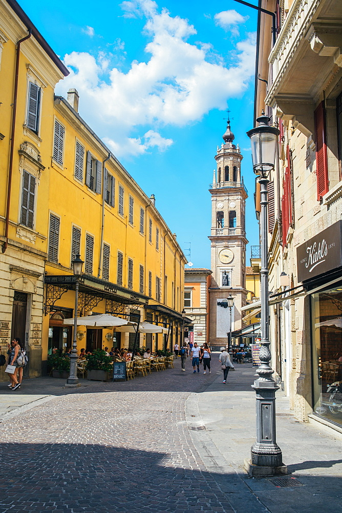 Busy street and cafe in Parma, Emilia Romagna, Italy, Europe