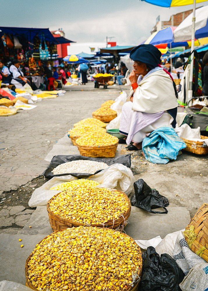 Andean corn in a market in Otovalo, Ecuador, South America