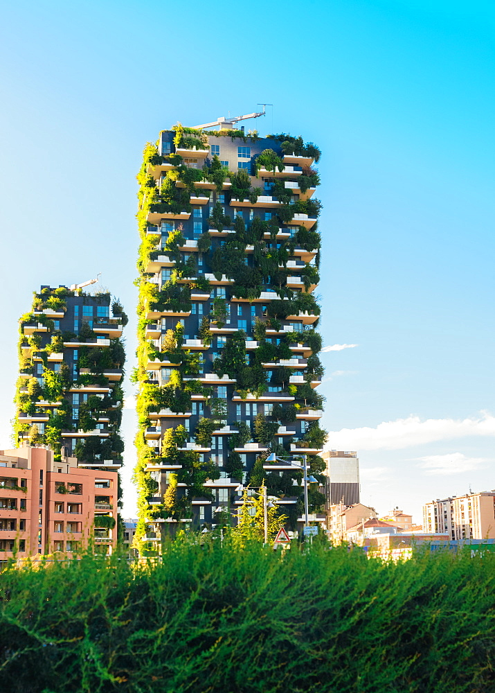 Bosco Verticale (Vertical Forest) low view. Designed by Stefano Boeri, sustainable architecture in Milan, Lombardy, Italy, Europe
