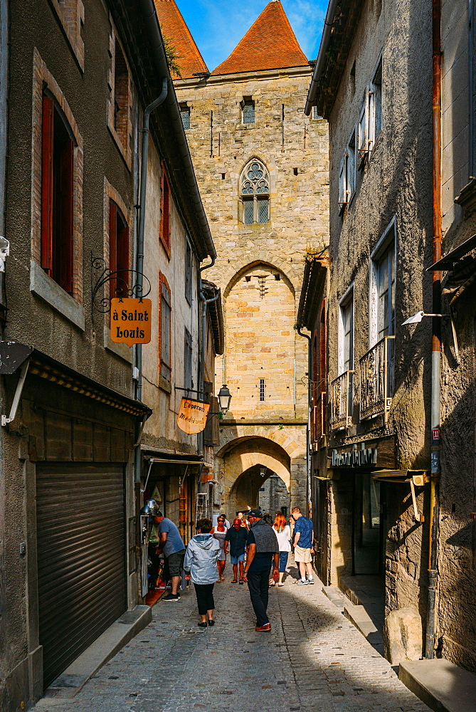 Narrow street, Carcassonne, UNESCO World Heritage Site, Languedoc, France, Europe - 1243-261