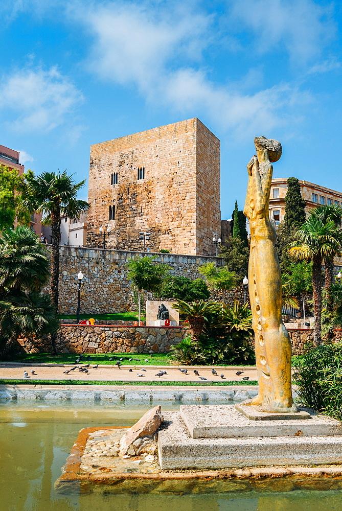 Tales de Mileto sculpture in Jardins de la Reconciliacion, Tarragona, Catalonia, Spain, Europe