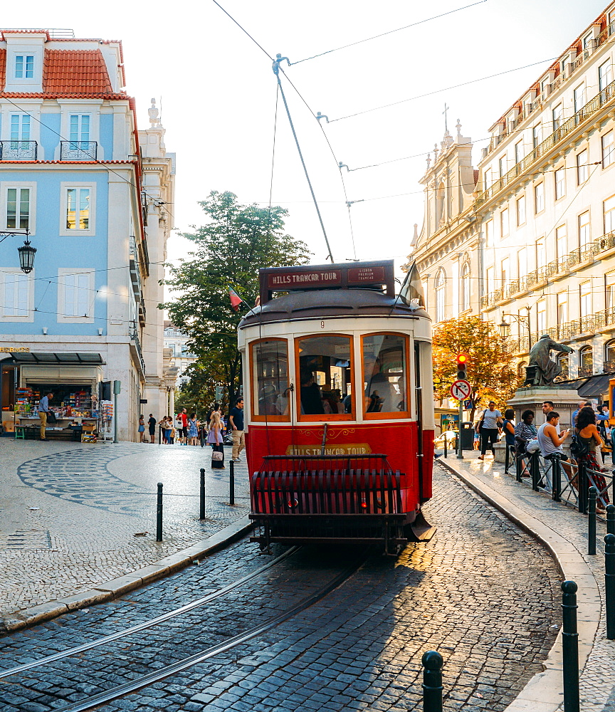 Traditional tram at Chiado neighbourhood in Lisbon, Portugal, Europe - 1243-350