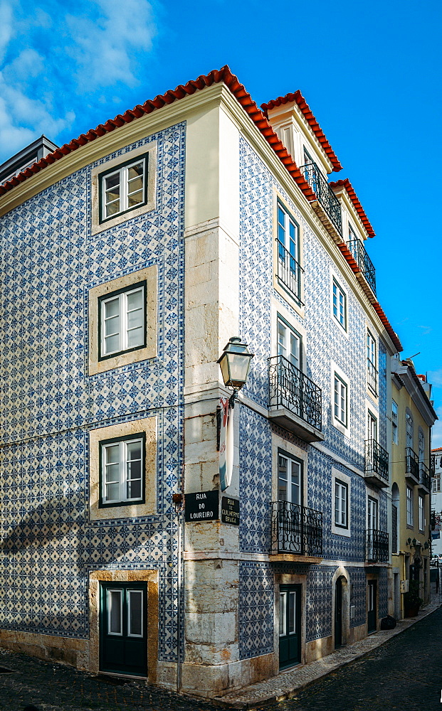 Traditional azulejo tiles on a building facade, Alfama, Lisbon, Portugal, Europe - 1243-351