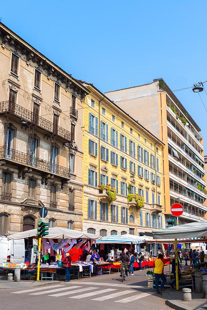 A street market in Milan, Lombardy, Italy, Europe