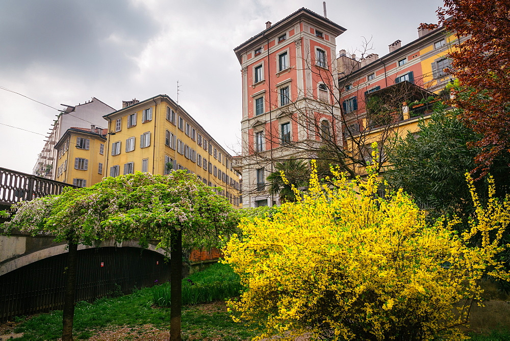 Typical Milan-style architecture in the spring, Milan, Lombardy, Italy, Europe