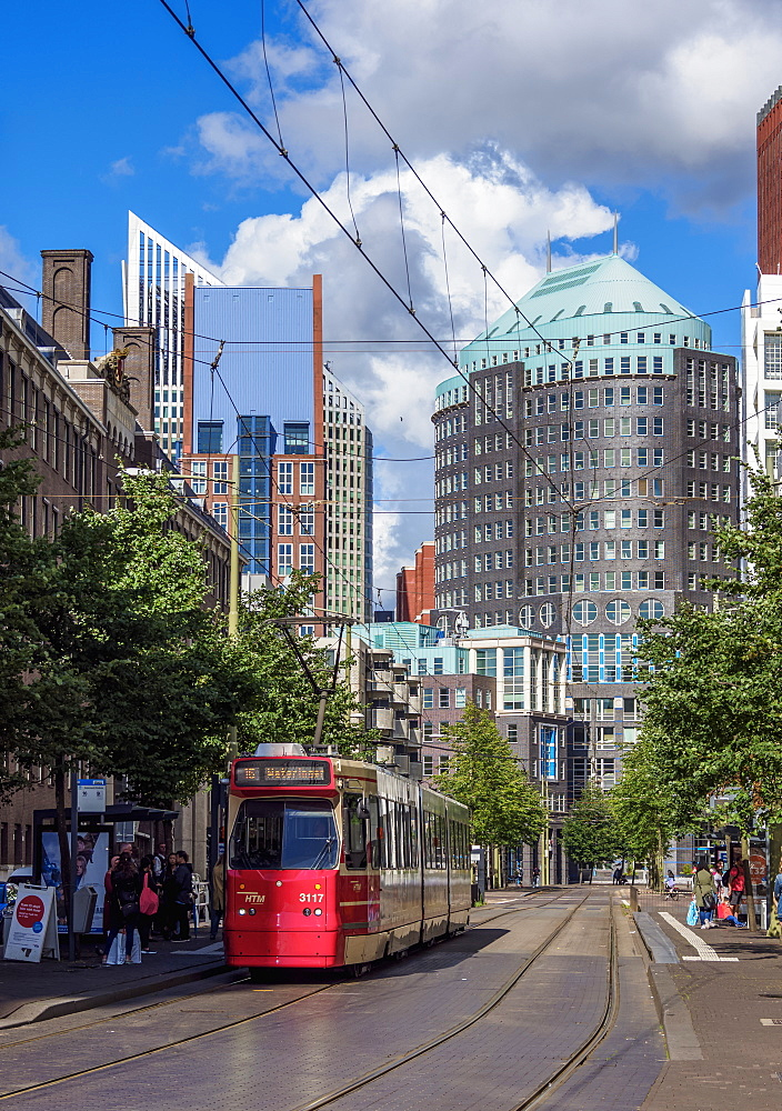 Kalvermarkt Street with Muzentoren Building in the background, The Hague, South Holland, The Netherlands, Europe - 1245-1025